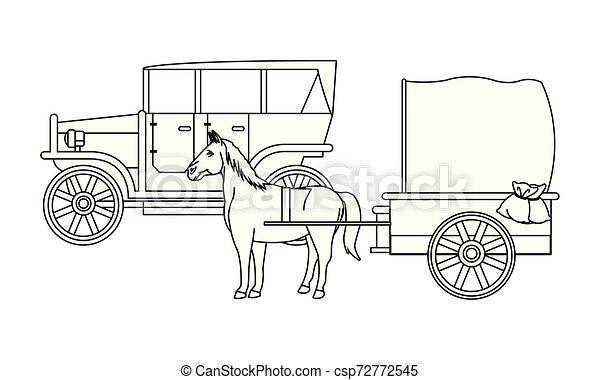 ló, classic autó, jármű, fekete, csapágyak, fehér - csp72772545