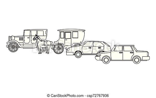 ló, classic autó, jármű, fekete, csapágyak, fehér - csp72767936
