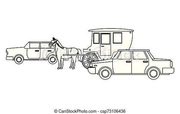 ló, classic autó, jármű, fekete, csapágyak, fehér - csp73106436