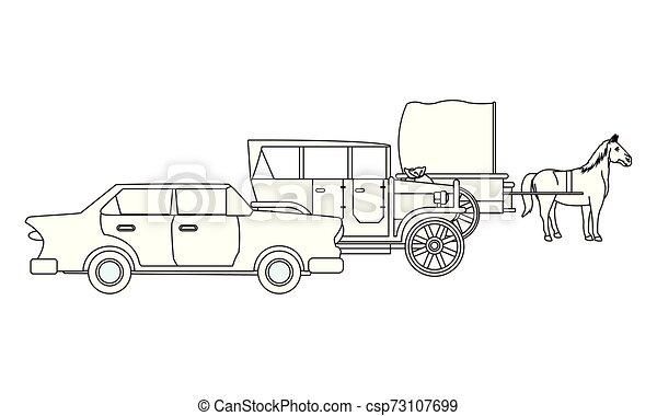 ló, classic autó, jármű, fekete, csapágyak, fehér - csp73107699