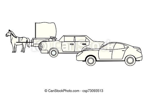 ló, classic autó, jármű, fekete, csapágyak, fehér - csp73093513