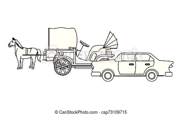 ló, classic autó, jármű, fekete, csapágyak, fehér - csp73109715