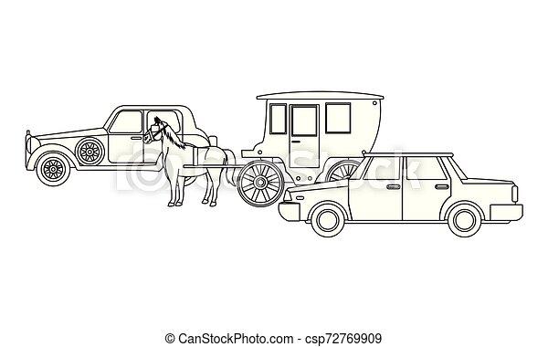 ló, classic autó, jármű, fekete, csapágyak, fehér - csp72769909
