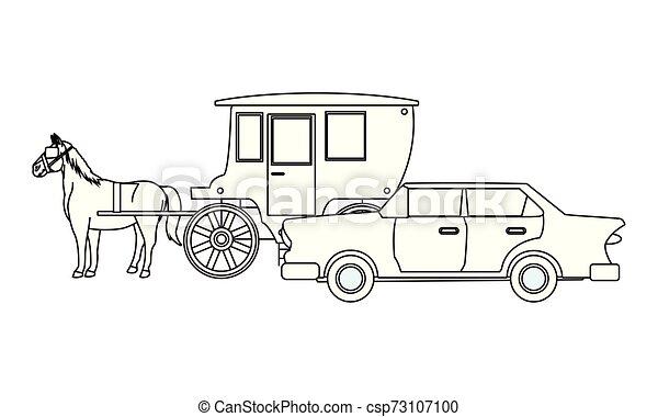 ló, classic autó, jármű, fekete, csapágyak, fehér - csp73107100