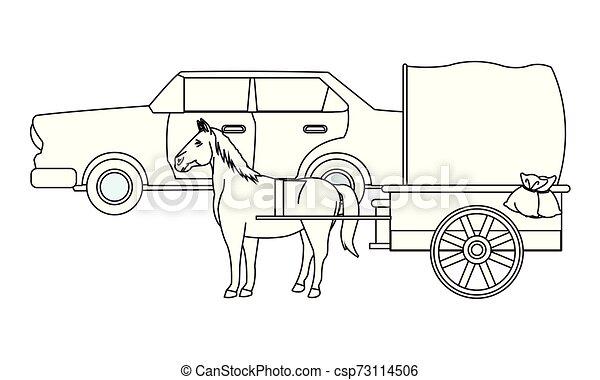 ló, classic autó, jármű, fekete, csapágyak, fehér - csp73114506