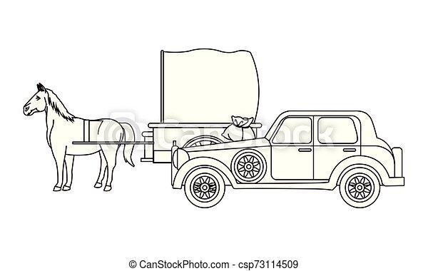 ló, classic autó, jármű, fekete, csapágyak, fehér - csp73114509