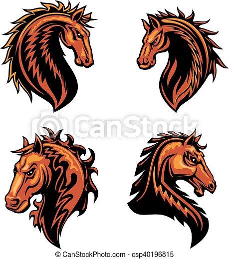 ló, elbocsát, lángoló, vad, amerikai félvad ló, kabala - csp40196815