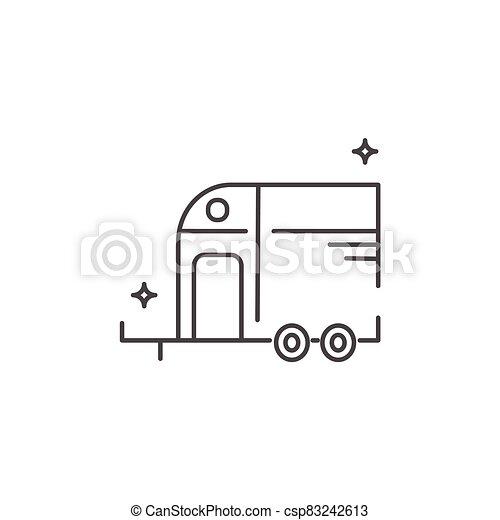 ló, style., lakás, ikon, vontatott lakókocsi, kúszónövény, travel. - csp83242613