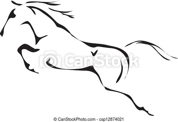ló ugrás, vektor, fekete, fehér, vázlat - csp12874021