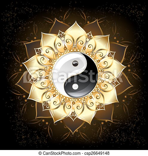 lótusz, arany-, yin yang - csp26649148
