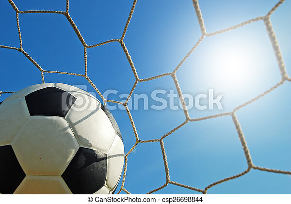 labdarúgás, stadion, sport, kék ég, fű, futball, zöld terep - csp26698844