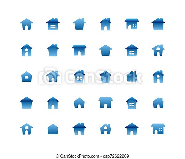 lakás, állhatatos, háttér., otthon, fehér, ikon - csp72622209