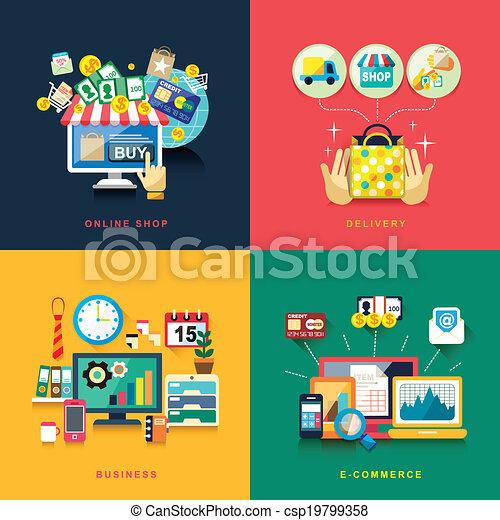 lakás, ügy, bevásárlás, felszabadítás, tervezés, e-commerce, online - csp19799358
