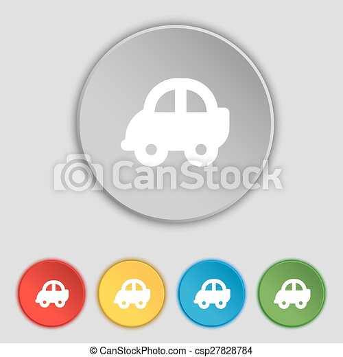 lakás, buttons., autó, cégtábla., vektor, öt, jelkép, ikon - csp27828784