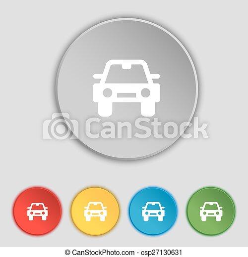 lakás, buttons., autó, cégtábla., vektor, öt, jelkép, ikon - csp27130631