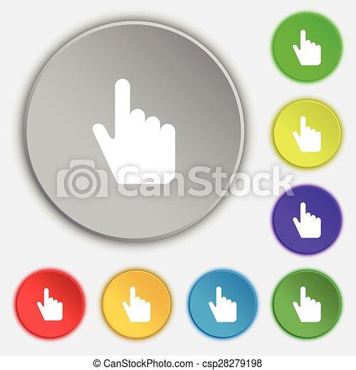 lakás, buttons., cégtábla., kurzor, vektor, öt, jelkép, ikon - csp28279198