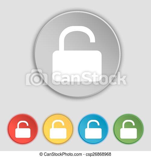 lakás, buttons., cégtábla., lakat, vektor, öt, nyílik, jelkép, ikon - csp26868968