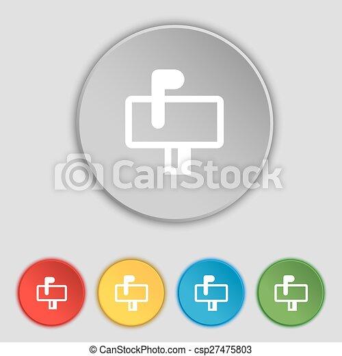 lakás, buttons., cégtábla., postaláda, vektor, öt, jelkép, ikon - csp27475803