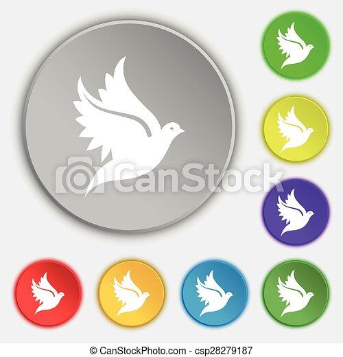 lakás, buttons., cégtábla., vektor, öt, galamb, jelkép, ikon - csp28279187