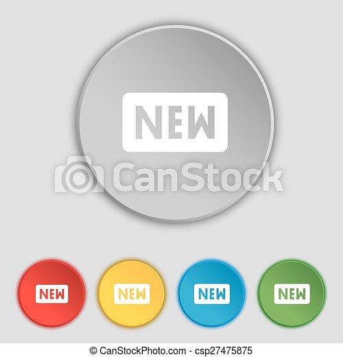 lakás, buttons., cégtábla., vektor, öt, új, jelkép, ikon - csp27475875