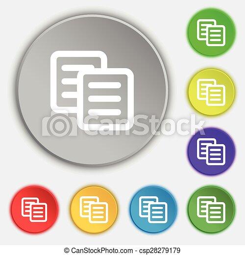 lakás, buttons., cégtábla., vektor, öt, másol, jelkép, ikon - csp28279179