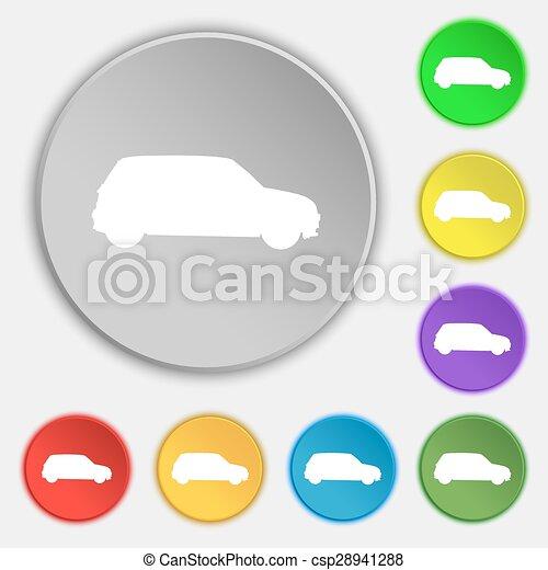 lakás, buttons., dzsip, cégtábla., vektor, öt, jelkép, ikon - csp28941288