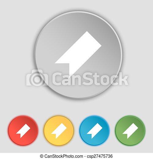 lakás, buttons., könyvjelző, cégtábla., vektor, öt, jelkép, ikon - csp27475736
