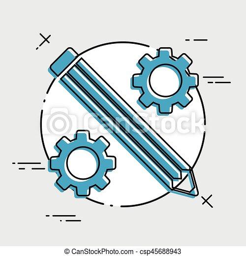 lakás, dolgozó, -, kreatív, vektor, ikon - csp45688943