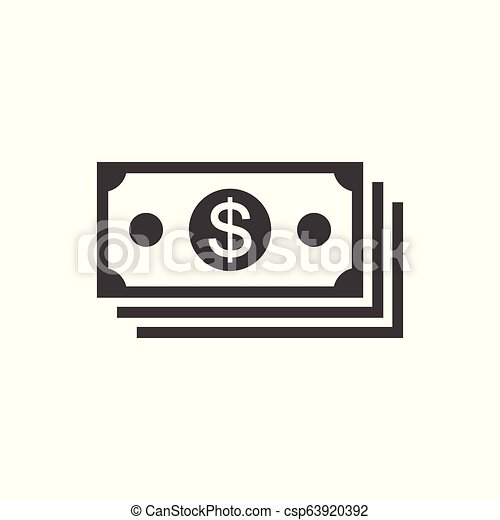 lakás, egyszerű, pénz, -, elszigetelt, háttér, vektor, tervezés, fehér, ikon - csp63920392