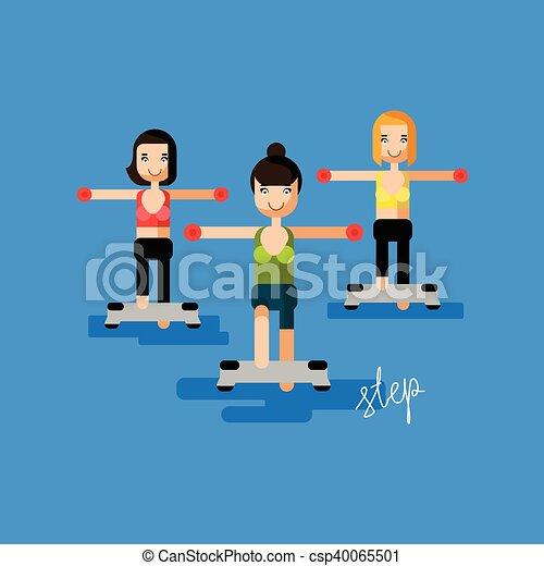 lakás, felirat, -, ábra, lábnyom, vektor, aerobic, állóképesség, kézírás, nők - csp40065501