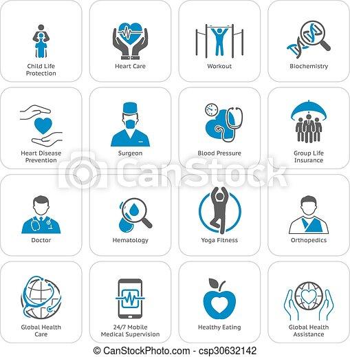 lakás, ikonok, orvosi health, törődik, set., design. - csp30632142