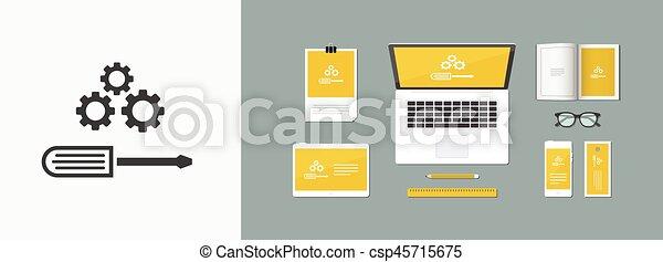 lakás, kreatív, dolgozó, ikon - csp45715675