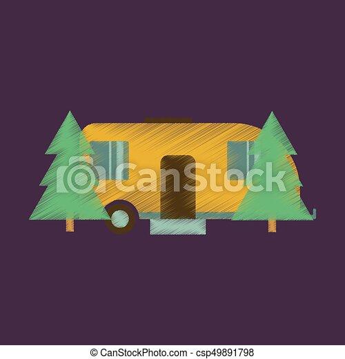 lakás, mód, erdő, árnyékolás, kúszónövény, ikon - csp49891798