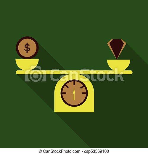 lakás, mód, gyémánt, pénz, mérleg, árnyék, ikon - csp53569100