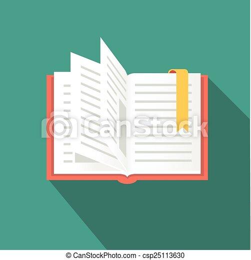 lakás, mód, hosszú, könyv, árnyék, ikon - csp25113630