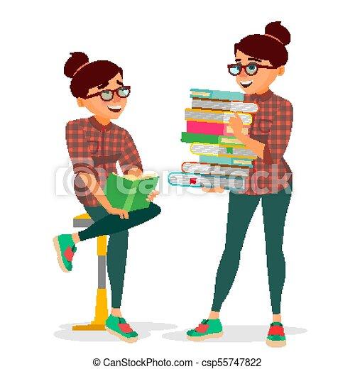 lakás, nő, könyvtár, izbogis, klub, tanulás, egyetem, elszigetelt, ábra, kazal, nagy, könyv, szállítás, elméleti, vector., karikatúra, concept., books., student. - csp55747822