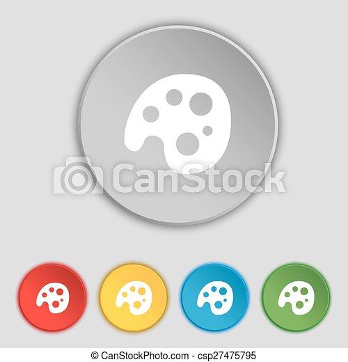 lakás, paletta, buttons., jelkép, vektor, öt, cégtábla., ikon - csp27475795