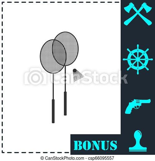 lakás, tollaslabda, ikon - csp66095557