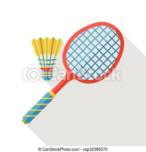 lakás, tollaslabda, sport, ikon - csp32385070