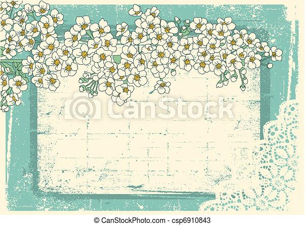 lakberendezési tárgyak, grunge, szüret, keret, háttér, szöveg, virágos - csp6910843
