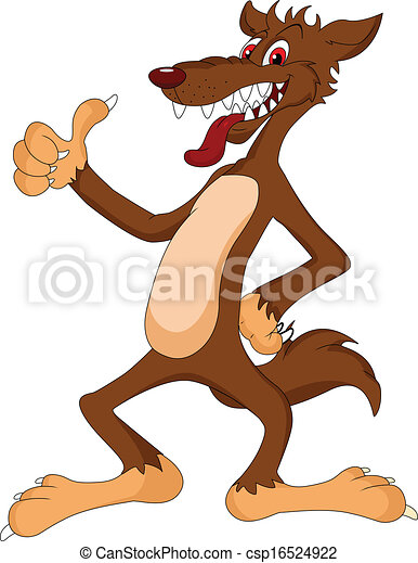 lapozgat, farkas, feláll, karikatúra - csp16524922