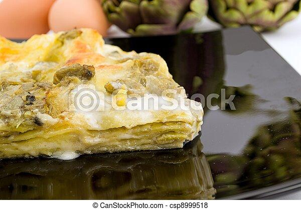 lasagna, articsóka - csp8999518