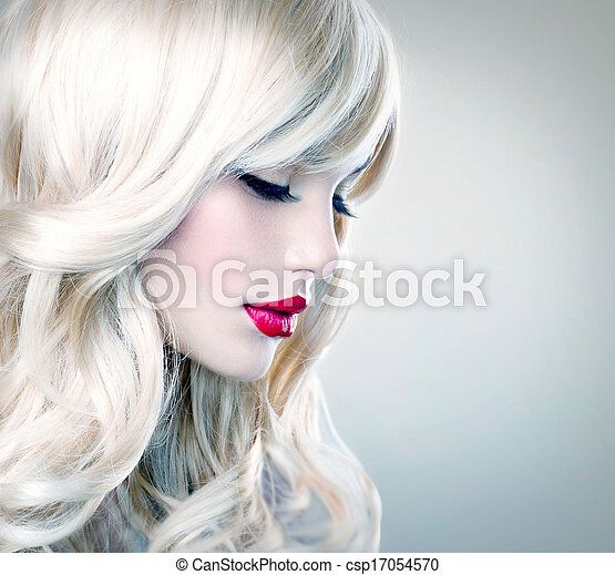 leány, haj, hair., szőke, hullámos, egészséges, hosszú, gyönyörű, fehér - csp17054570