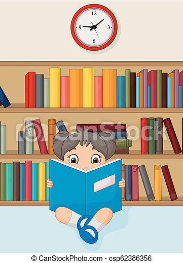 leány, könyv, felolvasás, könyvtár, karikatúra - csp62386356