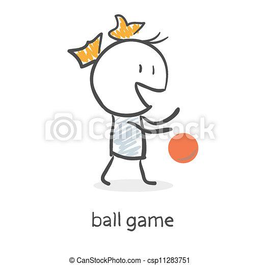 leány, labda, karikatúra, játék - csp11283751