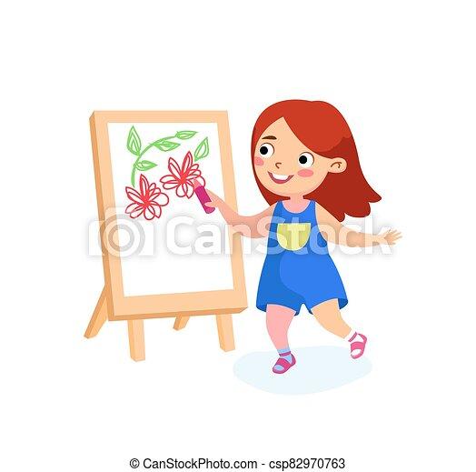 leány, nap, concept., nemzetközi, boldog, gyermekkor, gyermek, vagy, paper., boldogság, vektor, béke, izbogis, festmény, karikatúra, betű, ünnepek, easel., gyerekek, ábra, rajz, vászon, hát, menstruáció - csp82970763