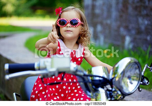 leány, ruha, motorkerékpár, piros - csp11805049