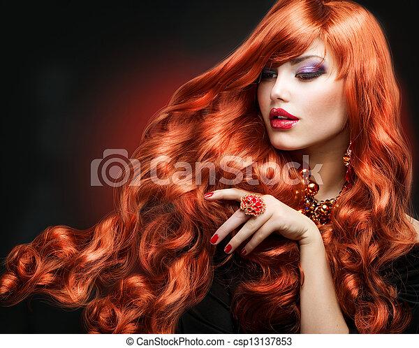 leány, szőr mód, portrait., hair., göndör, piros, hosszú - csp13137853