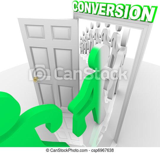 lehetőség, emberek, vásárlók, kapualj, át, áttérés - csp6967638