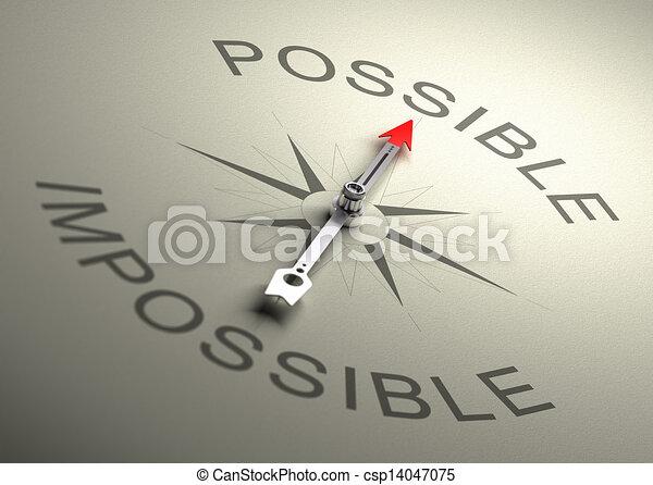 lehetetlen, vs, lehetséges - csp14047075